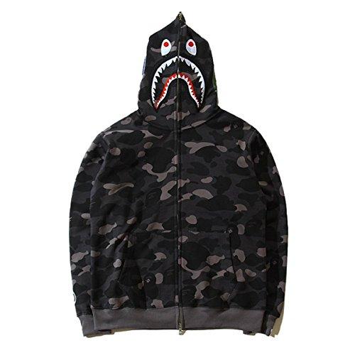 Pullover Camouflage Hoodie Kapuzenpullover Unisex Kapuzen-Sweatshirt (XL, schwarz) ()