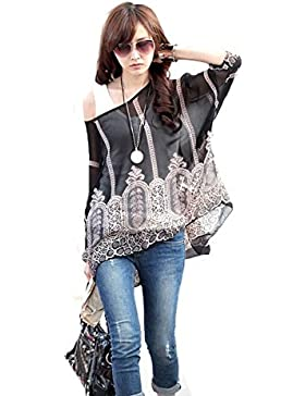LATH.PIN Mujeres Bohemian 3/4 Sleeve Chiffon Blouse Off Shoulder T-Shirt