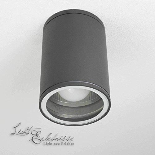 Moderne Deckenleuchte in anthrazit inkl. 1x 12W E27 LED 230V Deckenlampe aus Aluminium Glas für Garten Terrasse Weg Lampe Leuchten außen -