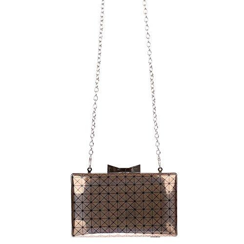 Clutch Handtasche mit Umhängekette Grau Braun (Braun Prada Handtasche)