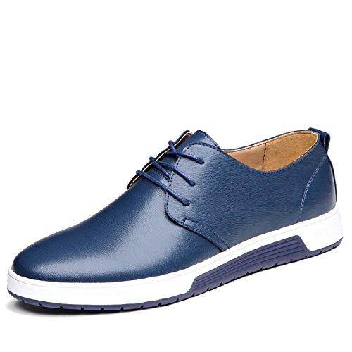 Lily999 scarpe stringate basse uomo oxford eleganti brogue derby vintage(blu,42 eu)
