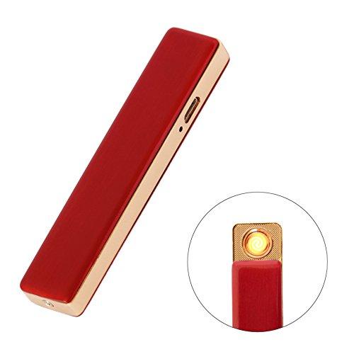 Feuerzeug Elektrische USB aufladbar über Ookami–Umweltfreundlich ohne Gas und ohne Flamme, Premium Qualität mit Netzkabel Rouge Xl