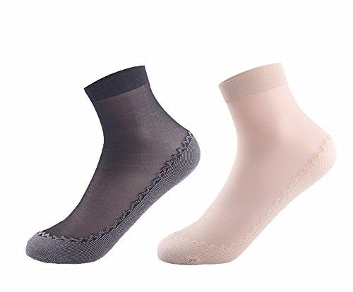 Lagougou Kurze Strümpfe Damen Sommer Crystal Socken Socken Baumwollsocken Anti-Hook Kabel Dünner Sommer Rutschfeste 10 Paar Schwarz 5 Haut 5 Paaren.