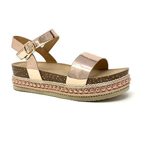 Angkorly - Damen Schuhe Sandalen Mule - Folk/Ethnisch - Böhmen - Plateauschuhe - Nieten-Besetzt - Kork - metallisch Keilabsatz high Heel 5 cm - Rosa Gold 2 1059 T 39