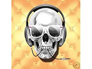 Tableau Skull Electrick capitonné noir Couleur Doré