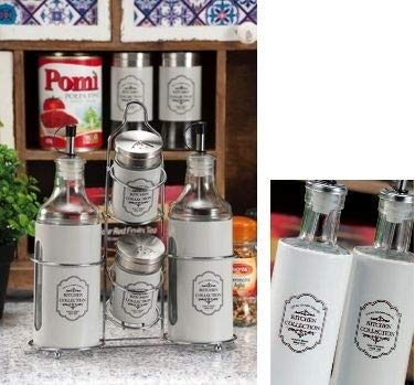 Menage vetro - metallo completo ad olio aceto sale pepe