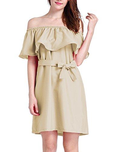 Lkous Frauen aus Schulter Rüschen Mini Tunika Kleid mit Gürtel Braun