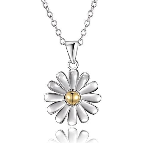 City Ouna® dos tono 925 plata esterlina centro plateado oro Margarita flor colgante collar cadena 18