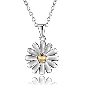 """City Ouna® due tono 925 argento Sterling placcato oro centro margherita fiore 18"""" clavicola catena-Box collana ciondolo con Spring Ring Clasp"""