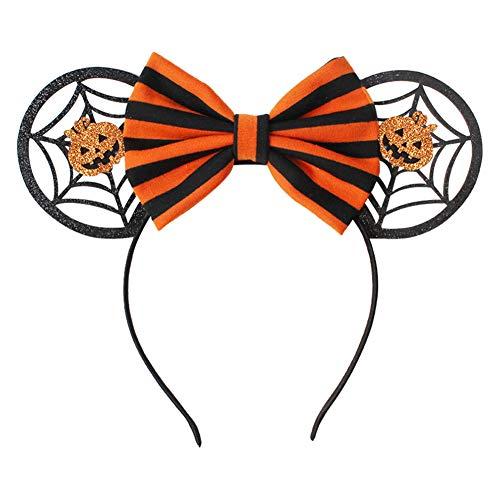 Aisoway 1 Stück Halloween-Haar-Zusatz-Stirnband Minnie Mouse Ohren Stirnband Halloween Festival Glitter Pailletten Bögen Minnie Kinder Haarschmuck Haarreif Für Kinder Jungen Mädchen (Minnie Mouse-halloween-kostüme Erwachsene)