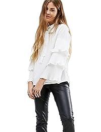 à Nouer Encolure Montante Haute Plissée Multi Layered volants Manches Cloche Larges Manches Longues Blouse Chemisier Shirt Chemise Haut Top Blanc