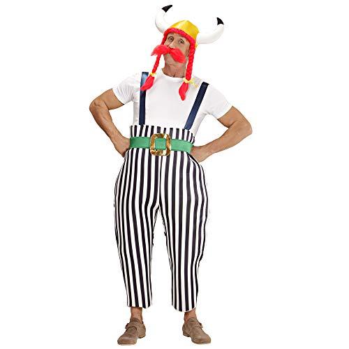 Widmann 39623 - Erwachsenenkostüm Gallier, Maxi Hose mit Hosenträgern, Gürtel, Helm mit Zöpfen und Schnurrbart, Größe L