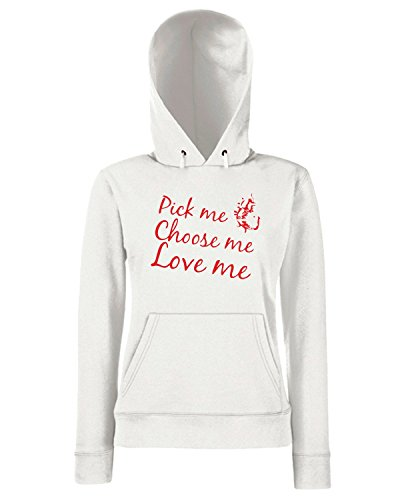 T-Shirtshock - Sweats a capuche Femme TDM00215 pick me choose me love me Blanc