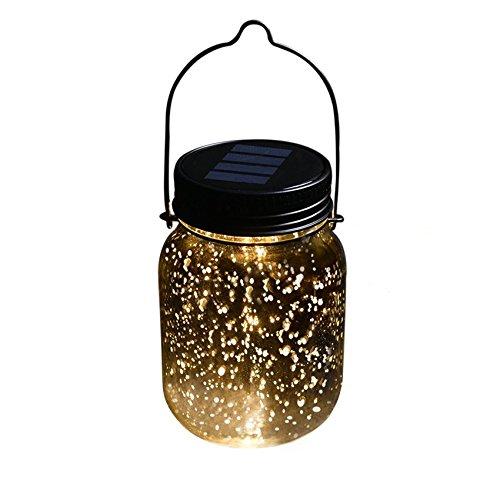 Solarlampe Solar-Laterne mit Haken, Wasserdichte Solar Jar Sun Jar für Garten und Outdoor LED Laterne Hängeleuchten, von AGPTEK SJ, Warm Weiß