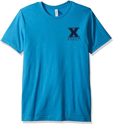 Image One NCAA Xavier Musketierer-T-Shirt für Erwachsene, Azteken-Muster, quadratisch, kurzärmelig, Triblast, Größe L, Aqua Xavier University
