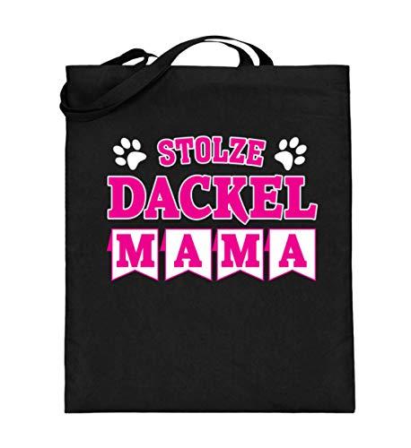 ALBASPIRIT Stolze Dackel Mama Dachshund Teckel Rauhaar Dackel Hund Jagd Zwergdackel Frauchen Geschenk - Jutebeutel (mit langen Henkeln) -38cm-42cm-Schwarz -