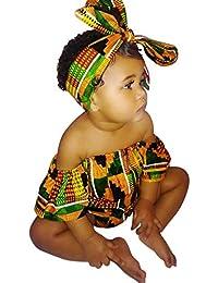 6b169d14082b2 Moneycom Enfant en Bas âge Bébé Fille Imprimé Africain sans Manches  Barboteuse Bande de Vêtements Tenues