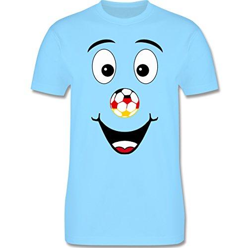 EM 2016 - Frankreich - Deutschland lustiges Gesicht - Herren Premium T-Shirt Hellblau