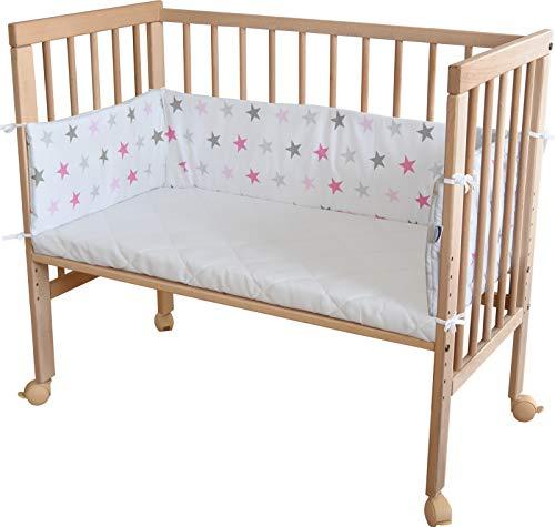 WALDIN Baby,aperto Lettino culla,altezza regolabile,paracolpi e materasso,in 16 varianti, naturale,bianco/stella grigio-rosa