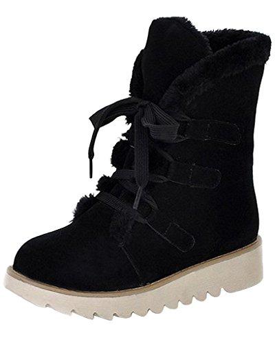 Minetom Donne Inverno Piatto Caviglia Stivali Faux Pelle Caldo Pelliccia La Neve Stivali Lace-Up Scarpe Nero