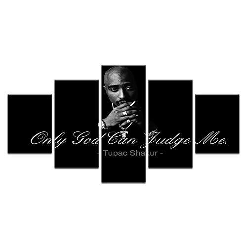 LAKHAFZY Rahmenlos 5 Stücke 2Pac Makaveli Tupac Amaru Shakur Moderne Home Decor Leinwandbild Kunst Hd Drucken Malerei Auf Leinwand Für Wohnzimmer (2pac Bilder)