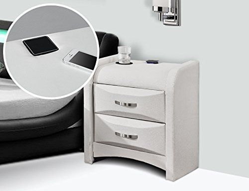 Stunning new 2 drawer milanverona faux leather bedside table with on sale watchthetrailerfo