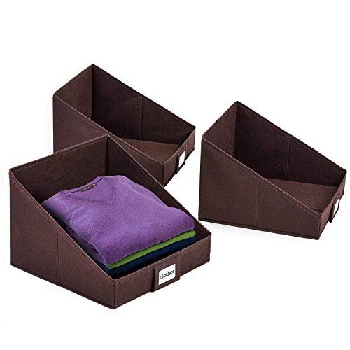 Umi. 3er Faltbox zum leichten Herausnehmen der Kleider,faltbare aufbewahrungsbox, offene Regalkorb, Stoffbox mit Etikettenhalter Braun