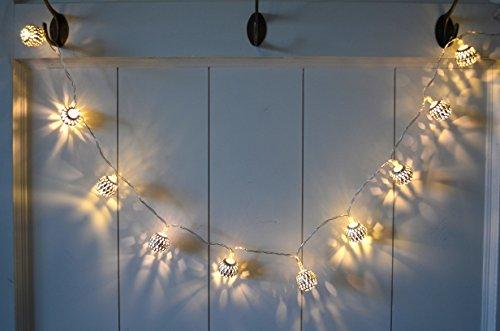 Lichterkette mit Kugeln silber 10er LED warm weiß Kugel-Lichterkette Batterie Edel Party Hipster Hochzeit Weihnachten xmas ca. 110cm Tischdeko Kranz Deko Schale