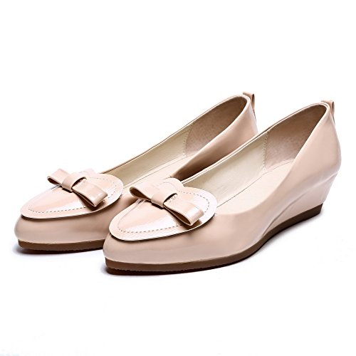 AgooLar Femme Tire à Talon Bas Verni Pointu Chaussures Légeres Abricot