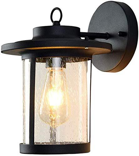 Beautiful Home Decoration Lamps Vintage Außenwandleuchten Wasserdichte E27 Wandleuchten Black Metal und Glaswasc Garten Sconces Retro Höfe Wand Eingang Porch House Lampe Laterne, 22 *   26 * 31CM -