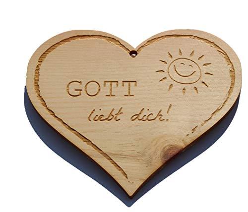 Zirbenherz - Gott liebt Dich - Spruch Geschenk aus Zirbenholz Holz inkl. Band zum Aufhängen