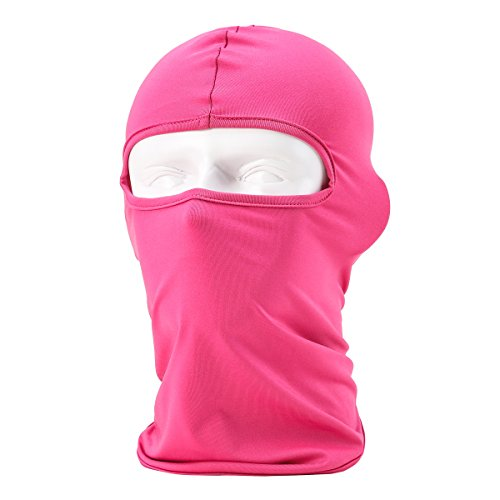 Passamontagna unisex-attrezzature sportive antivento antipolvere sottocasco balaclava regolabile equitazione maschera facciale, rosa rossa