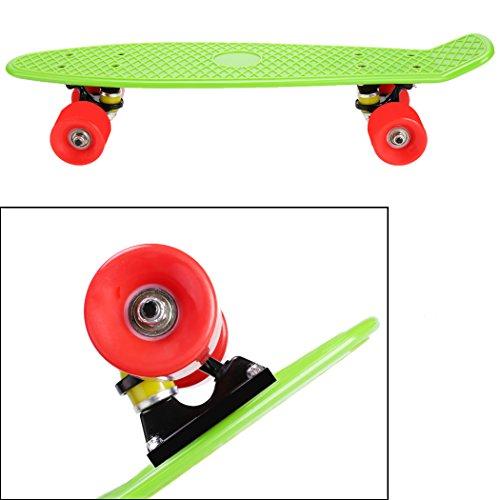 Ancheer Mini Cruiser Skateboard 55cm 22'' Planche à Roulettes Rétro Plastique - Couleur au Choix Vert et Rouge