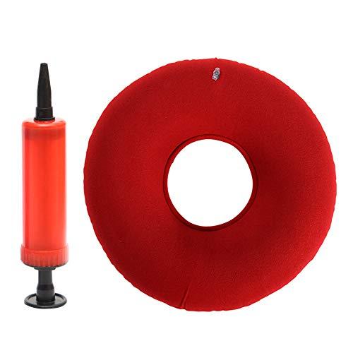 Bclaer72 - Cojín Redondo de Goma de Vinilo, cojín Hinchable Redondo, cojín de Goma médica, Almohada de hemorroides, cómodo para heridas de Cama, Rojo, Talla Abierta