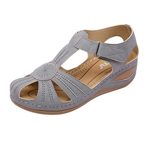 MakefortuneFrauen geschlossene Zehen Sandalen aus weichem Leder Flache Freizeitschuhe atmungsaktiv aushöhlen Wanderschuhe Damen Sommer Schuhe T-Riemen Sandalen Plattform Plus Größe UK4.5-UK11.5 - Extra Breite Leder-sandalen