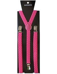 Tirantes para mujer hombre forma de Y, color: color rosa con lunares