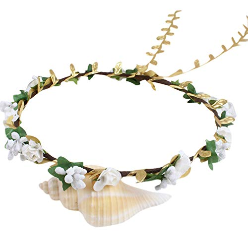 VRTUR Blumenkranz Blumenstirnband Boho für Festival Hochzeit Handmade Floral Bride Wedding Beach Hairband Headband Karneval Geschenk(Einheitsgröße,C)