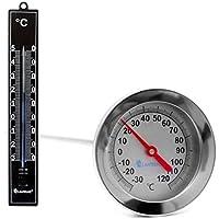 Lantelme 7113Compost Termómetro Resistente al Agua y Jardín Termómetro Negro Set