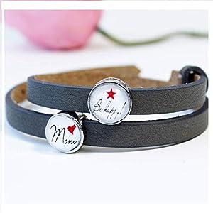 Armband Frauen personalisiert mit Namen als Geschenk für die beste Freundin/Lederarmband mit Schiebeperlen als Geburtstagsgeschenk für Frauen/Freundschaftarmband auch mit 2 Wunschnamen möglich