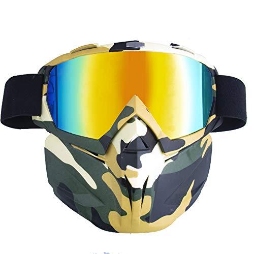 YUXIAO Motorradhelm Schutzbrille Brille Mit Abnehmbarer Maske, Abnehmbare Anti-Fog Warme Brille Mundfilter Einstellbare Anti-Rutsch-GüRtel Retro Harley Combat Motocross,Imitationred,Camouflage