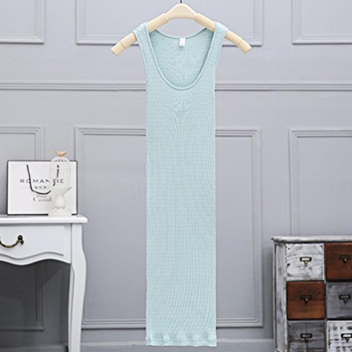 Baymate Femme Tricotage élasticité Chemise Mince Midi Camisole Débardeur Top Bleu Clair