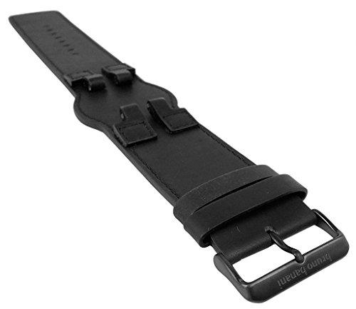 Bruno Banani ZENO | Ersatzband Uhrenarmband Leder Band schwarz für Armbanduhr BR20994