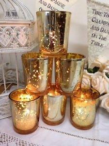 Juego de 6 portavelas para velas de té de cristal dorado soporte para