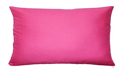 Kissenbezug Kissenhülle 100% Baumwolle mit Reißverschluss Kopfkissen Zierkissen Kissen Bezug ca. 40x80 cm in Magenta Pink Uni
