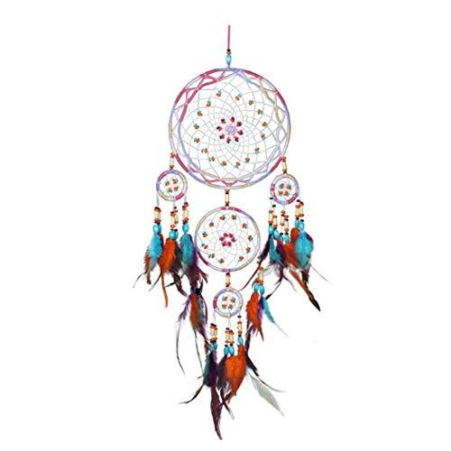 fnemo Traumfänger,handgemachte Multicolor fünf Ringe Catcher Net Decor für Wand Auto hängen Ornament Handwerk Geschenke (Handwerk Net)