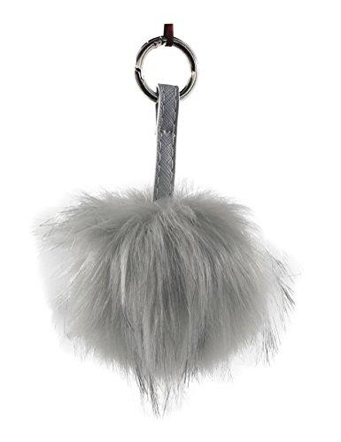 RAIKOU Plüsch Ball Schlüsselanhänger Taschenanhänger Weich Keychain Handtaschenanhänger Dekor Handy Anhänger Auto-Anhänger Kaninchen Pelz Kugel Plüsch Auto-Schlüsselring (P01Hellgrau)