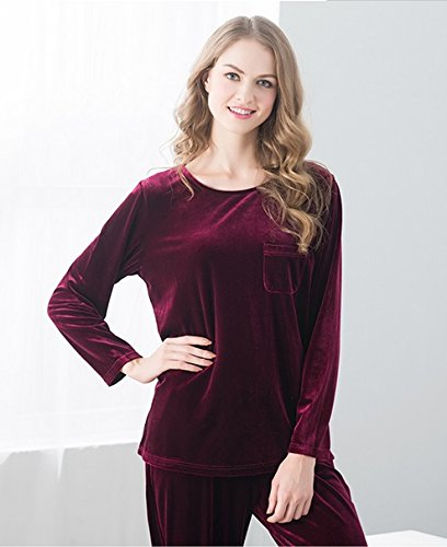 Mode de loisirs Sportswear Accueil Pure Couleur Nuit Simple Couleur solide à manches longues Pantalons Sweater Coton Casual Maison Vêtements Pyjamas Suite ( couleur : Rose , taille : L ) Rouge