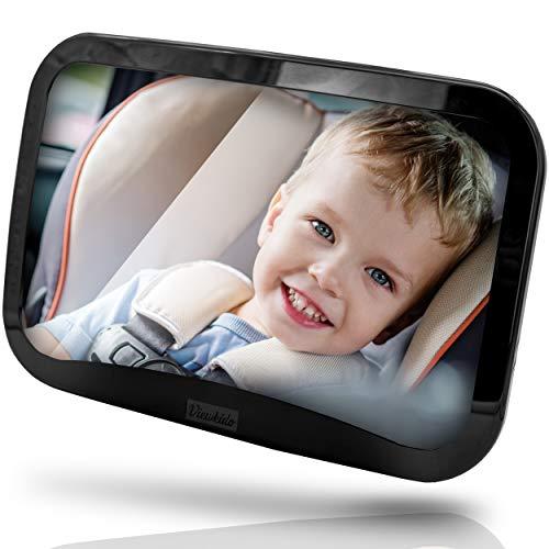 Viewkido ® Autospiegel Baby - Baby Rückspiegel mit extra großer Sichtfläche - bruchsicherer Rücksitzspiegel ohne Einzelteile - kinderleichte Montage - kompatibel mit fast allen Autos - inkl. E-Book