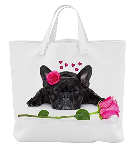 Merchandise for Fans Einkaufstasche - 45 x 42 cm x 9,5 cm, 18 Liter - Motiv: Französische Bulldogge mit roter Rose und Herzen - 31 -