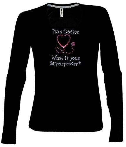 Fasching longsleeve Shirt Schwarz. V-Neck LangarmShirt Karneval Doktor  Kostüm I'm a Doctor What is your Superpower